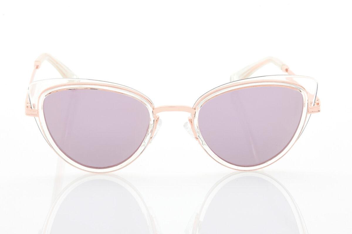Female Rose Gold Sunglasses Hawkers Feline Air Rose Gold