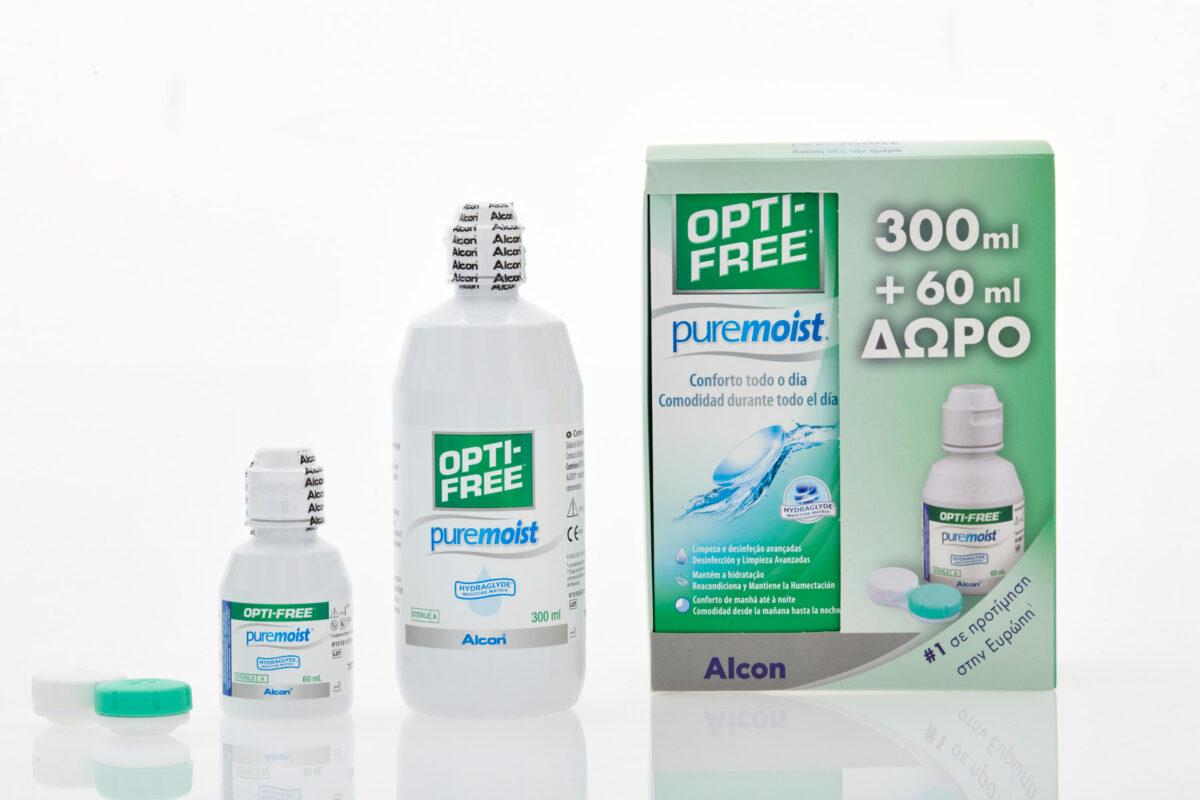 Υγρό φακών επαφής Optifree Pure Moist+travel size