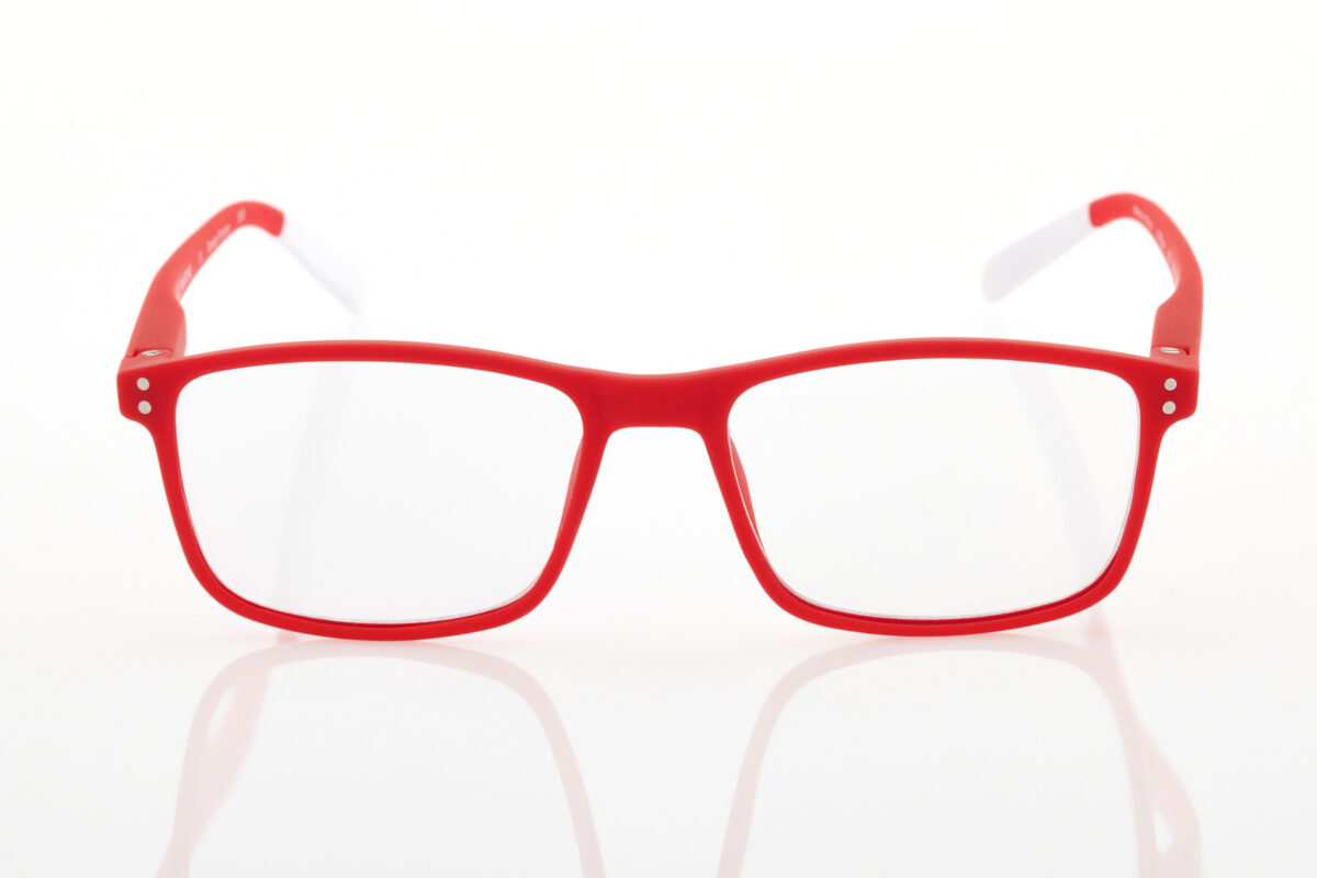 Pantone κόκκινα γυαλιά κοντινά πρεσβυωπίας