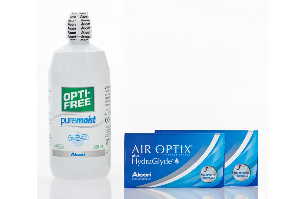 Μηνιαίοι Φακοί Επαφής AIROPTIX Hydraglyde + Υγρό Φακών Optifree Pure Moist 360ml + 60ml