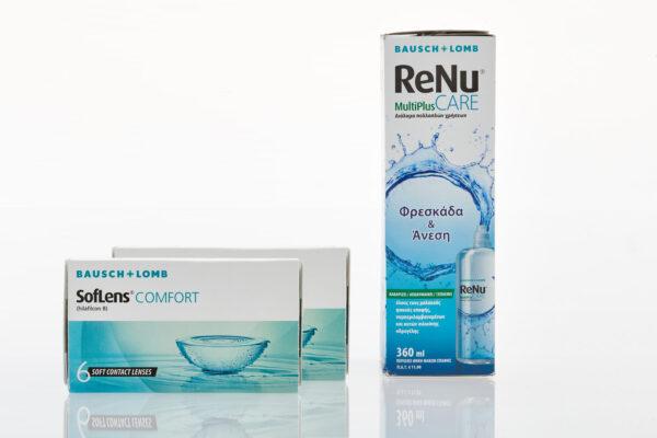 Μηνιαίοι Φακοί Επαφής Soflens Comfort 6+6 τμχ και Υγρό Φακών Επαφής ReNu 360ml