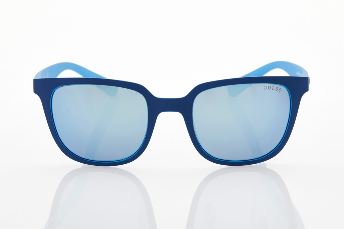 Guess blue mirror sunglasses for men.