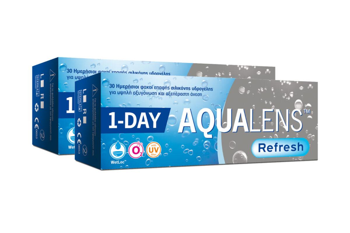 Combo Ημερήσιοι Φακοί επαφής μυωπίας Aqualens Refresh One Day