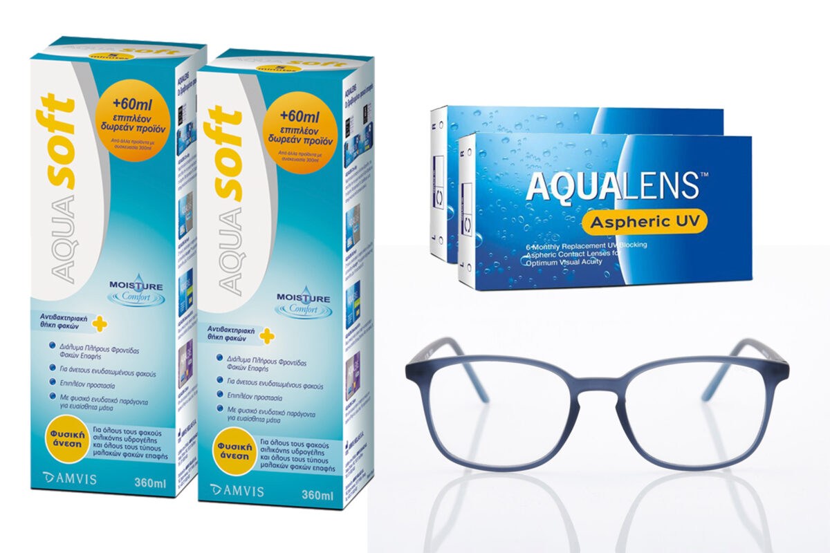Combo Monthly Aqualens Aspheric UV 6+6 contact lenses, Aquasoft Solution 360+360ml and Blue Light OBlue Square Glasses L.
