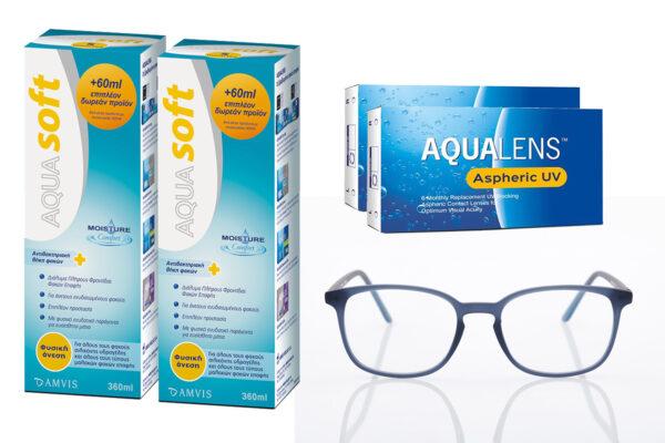 Combo Μηνιαίοι Φακοί Επαφής Aqualens Aspheric UV 6+6 τμχ & Aquasoft 360ml+360ml & Γυαλιά Blue Light OBlue