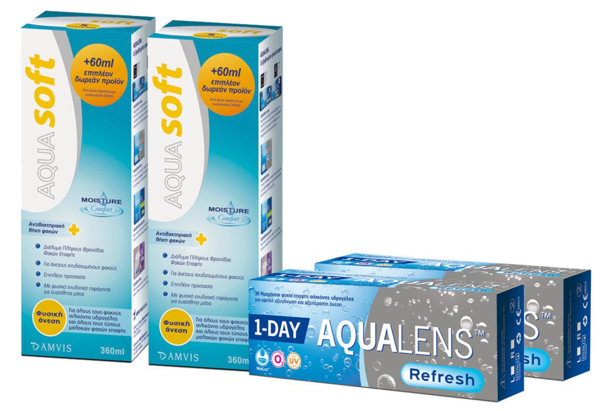 Combo Ημερήσιοι Φακοί επαφής μυωπίας Aqualens Refresh One Day και Aquasoft 1+1