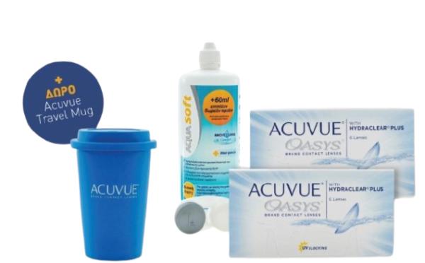 Combo Δεκαπενθήμεροι Φακοί Επαφής Μυωπίας ACUVUE Oasys 6+6 τεμάχια + Υγρό Φακών Επαφής Aquasoft 360ml + Δώρο Travel Mug Acuvue